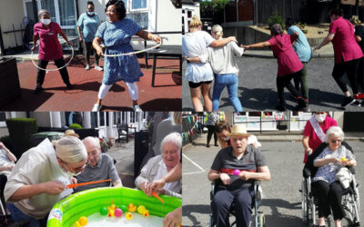 Team spirit for Sports Day at Meyer House Care Home