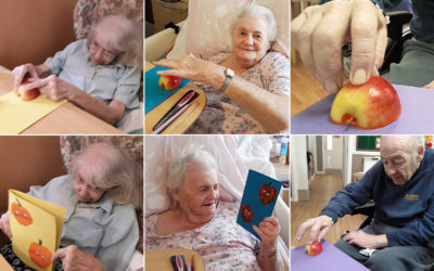 Making pumpkin greeting cards at Meyer House Care Home