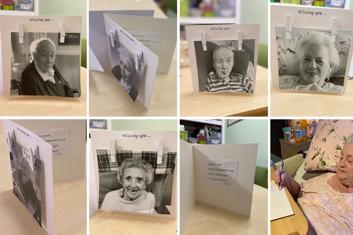 Residents make beautiful cards for their families at Meyer House Care Home