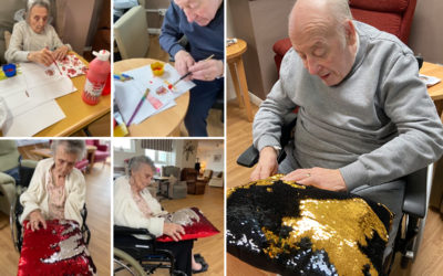 Spanish flags and therapy cushions at Meyer House Care Home