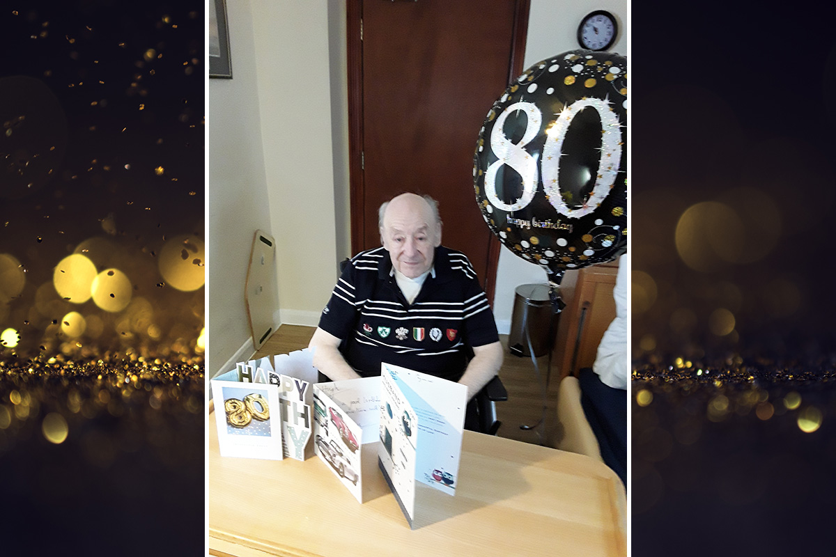 Hugh at Meyer House Care Home celebrates turning eighty years young