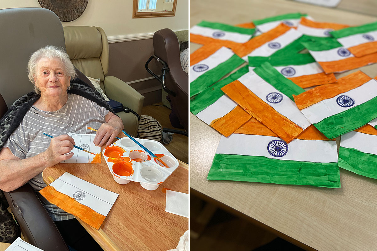 Painting Indian flags at Meyer House Care Home