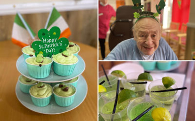 St Patricks Day cakes and mocktails at Meyer House Care Home