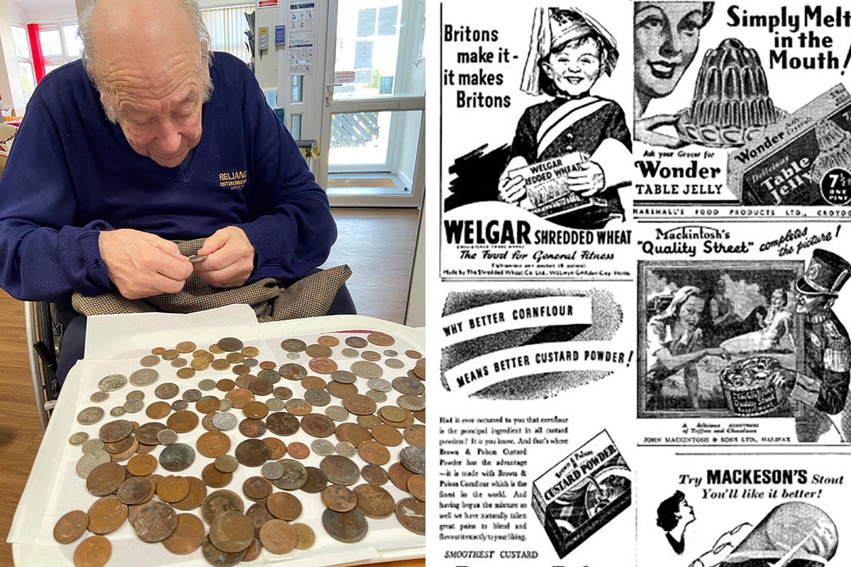 Reminiscing with coins at Meyer House Care Home