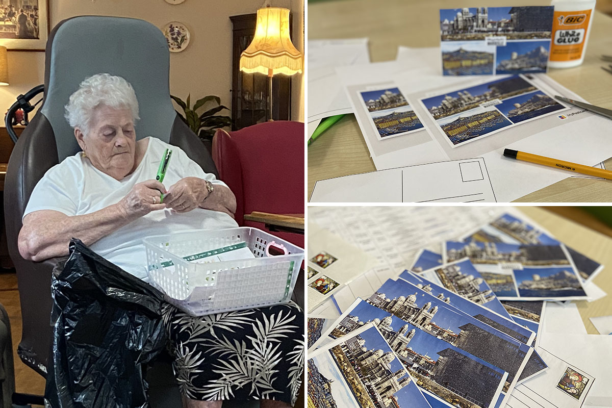 Writing postcards from Marseilles at Meyer House Care Home