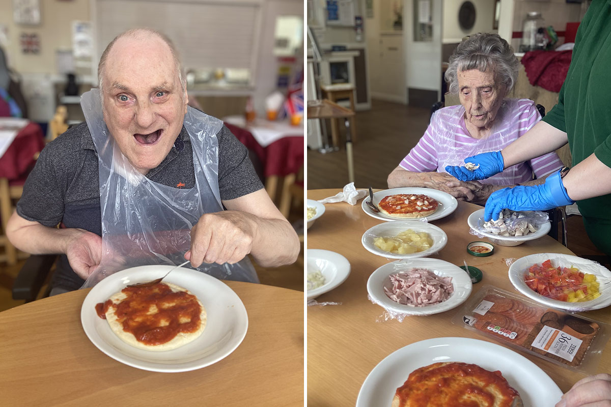 Pizza making at Meyer House Care Home