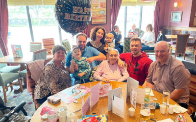 Birthday meal celebrations for Maggie at Meyer House Care Home