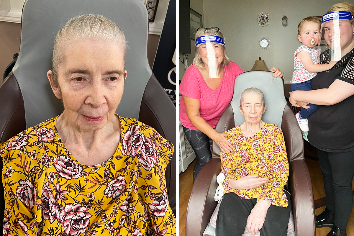Vivienne enjoys a family visit at Meyer House Care Home